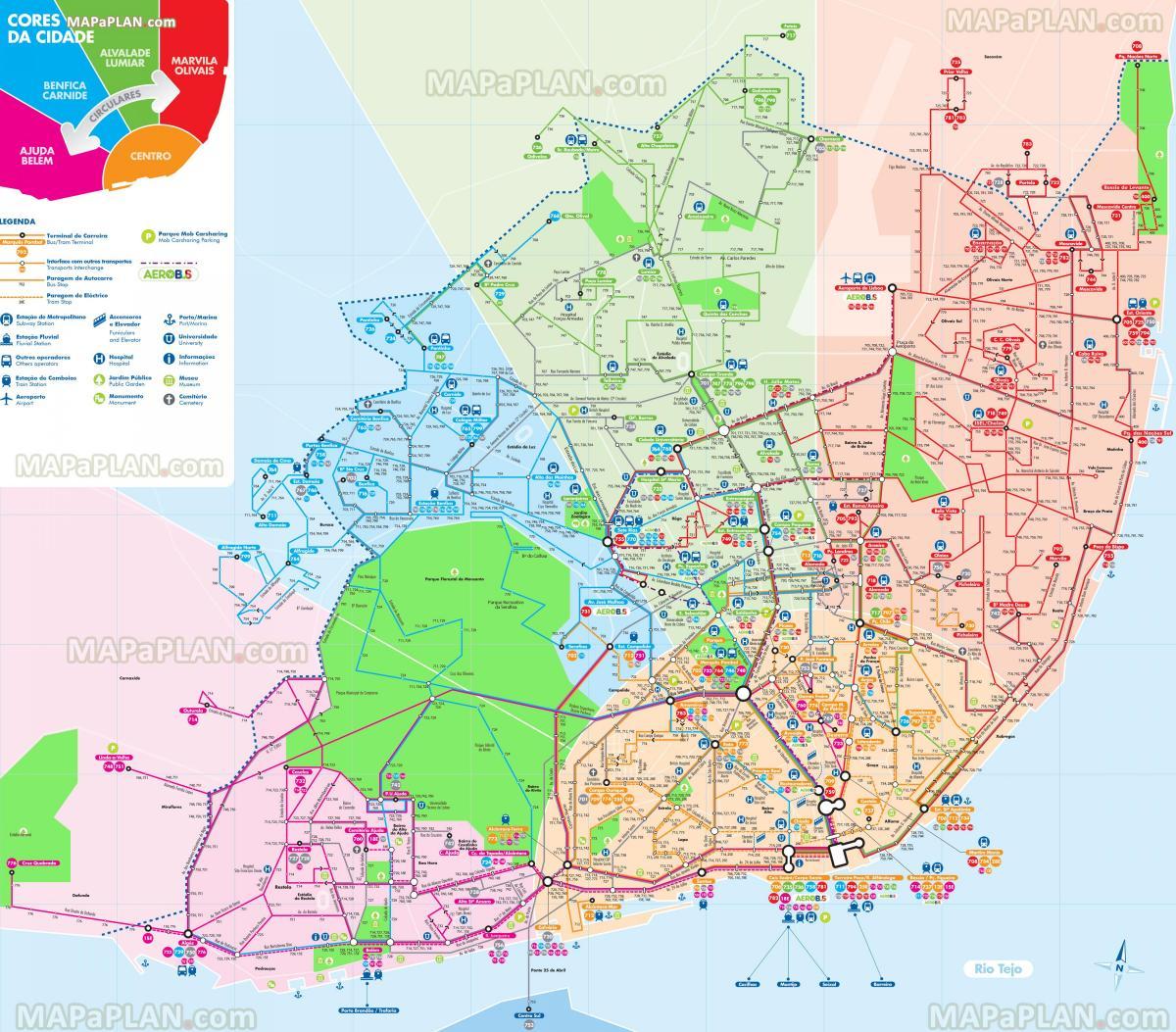 Mapa De Autocarros Da Carris Mapa Das Linhas De Autocarros De